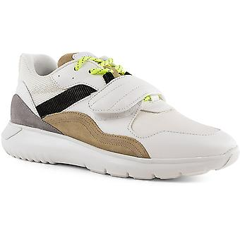 Hogan Men's sneakers shoes in white leather and fabric with laces and velcro strap