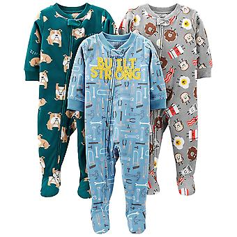 Simple Joys by Carter's Boys' 3-Pack Loose Fit Flame Resistant Fleece Footed ...
