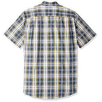 エッセンシャルメン&アポス;sスリムフィット半袖プレイドカジュアルポプリンシャツ、ネイビー.