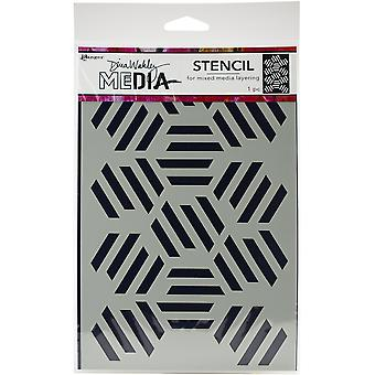 "Dina Wakley Media Stencils 9""X6""-Fractured Hexagons"