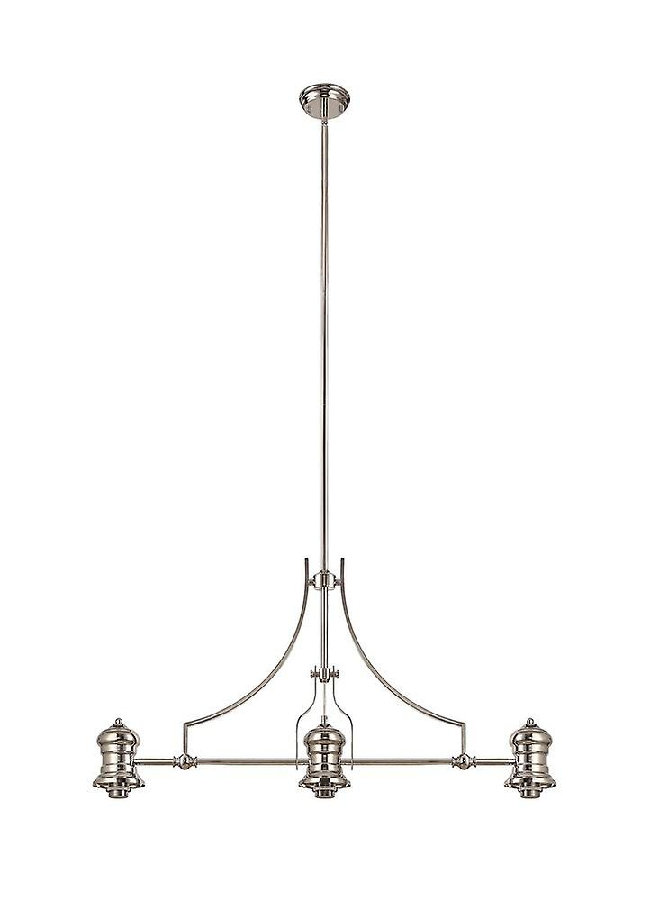Luminosa Lighting - 3 Light Telescopic Ceiling Pendant E27 With 30cm Prismatic Glass Shade, Polished Nickel, Clear