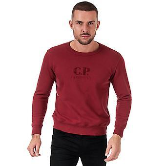 Men's C.P. Company Embroided Logo Crew Neck Sweatshirt in Red