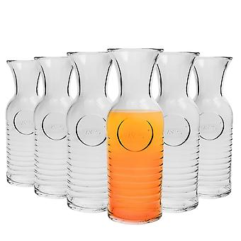 Bormioli Rocco Officina 1825 Glass Water Carafe - 1.2 Litre Serving Jugs - Made in Italy - Pack of 6