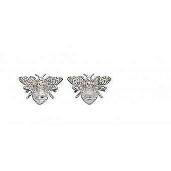 Elements Gold 9ct White Gold Bee Stud Earrings GE2323