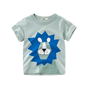 T Shirt Cartoon Animals -baby Kids Boys Girls And Children- Cotton Short Sleeves Summer Clothing -lion Monkey Print Tee