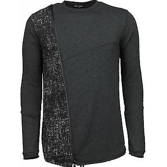 Lang T-skjorte glidelås - genser - mørk grå