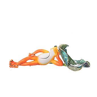 Frog Lying On Leaf Trinket Box