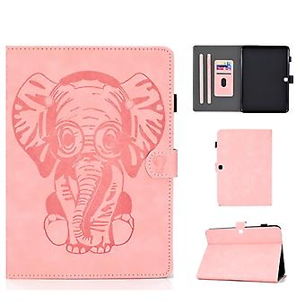 For Galaxy Tab 4 10.1 T530 Embossed Elephant Pattern Horizontally Flip PU Leather Case with Magnetic Buckle & Bracket and Card Slot(Pink)
