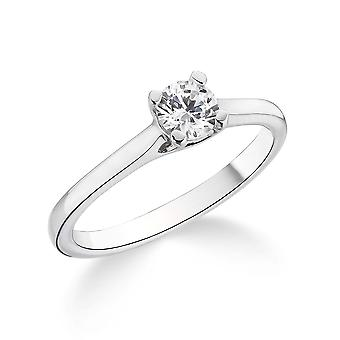 9K White Gold Petite Cathedral 4 Prong Setting 0.20Ct Certified Solitaire Diamond Engagement Ring