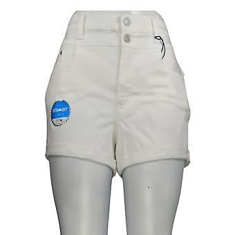 WallFlower Women's Jr Shorts Juniors High Rise Shorty Shorts White