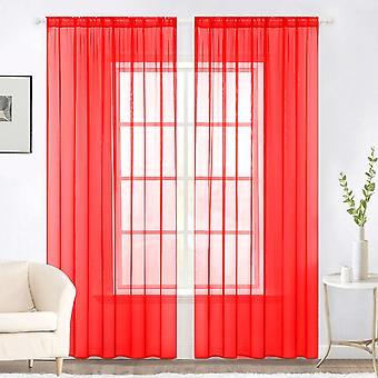 Plain Voile Curtain Pair 2 Panels Lucy Slot Top-Net & Voile Sheer Drapes