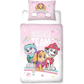 Character World PAW Patrol Pink Reversible Duvet Cover 100 x 135 cm and Pillowcase 40 x 60 cm