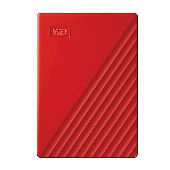 Wd 2 tb mit pas bærbare harddisk med password beskyttelse og auto backup software - rød - wo