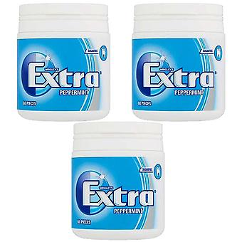 3 x 60 pieces Wrigley Extra Peppermint Chewing Bubble Gum Mint Flavour Sugar FREE Snack