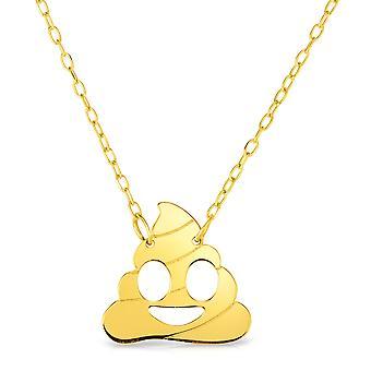 """14 k Gelb Gold Poop Emoji ausziehbaren Kette, 16"""" bis 18"""""""