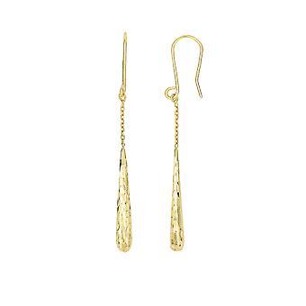 14K Yellow Gold Diamond Cut Long Teardrop Drop Earrings
