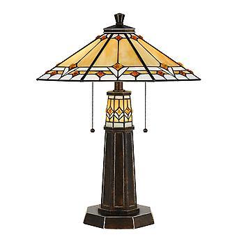 Lámpara de mesa de poliresina de sombra Tiffany de 60 X x 2 vatios, bronce oscuro