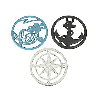 Set of 3 Cast Iron Nautical Design Kitchen Trivets Decorative Wall Hangings Mermaid Anchor Compass Rose
