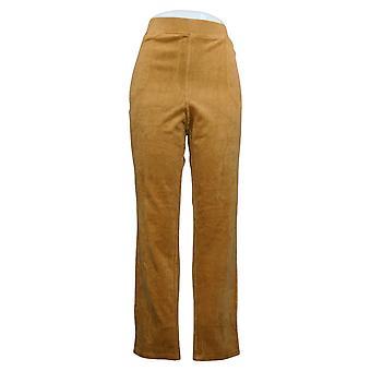 Quacker Factory Women's Pants Knit Corduroy Pull-On Slim Leg Brown A279070