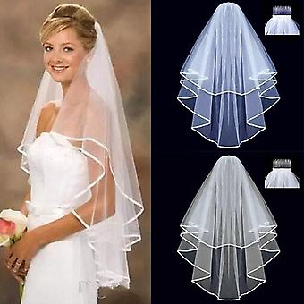 Short Tulle Two Layer With Comb Bridal Veil For Marriage