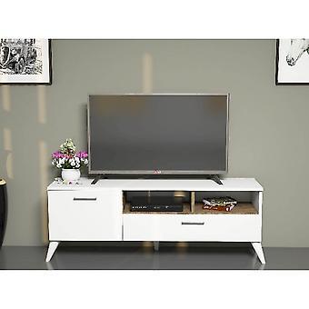 Mobil sol-tv-port hvid farve, melamin spånplader valnød, PVC, L120xP31.7xA48.6 cm