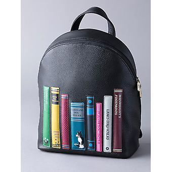 The Lakes Book Leather Backpack in Black
