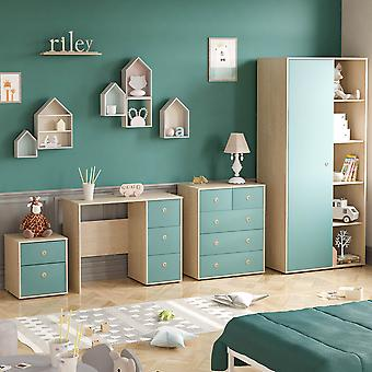 Neptune 4 Piece Bedroom Furniture Set Desk, Bedside Table, Chest of Drawers, Wardrobe Two-tone, Blue & Oak