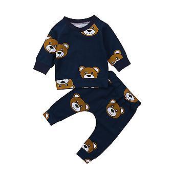 Newborn Baby Clothes Set Cotton Bear Print Long Sleeve Round T-shirt+long Pants