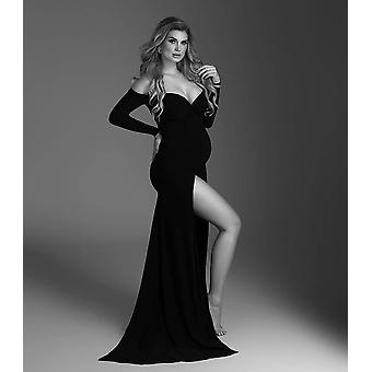 Shoulderless Maternity Dresses Photography Props Sexy Split Side Maxi Gown