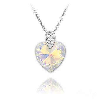Silver white ab swarovski crystal heart necklace