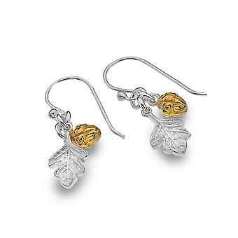 Boucles d'oreilles en argent sterling - Origines Gland + Feuille de chêne + Plaqué or