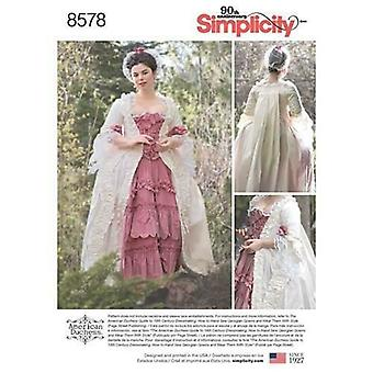 Yksinkertaisuus Ompelu kuvio 8578 Misses 17th Century Gown Puku Koko 14-22 UC