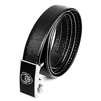 Pánské ležérní originální kožený pásek s přezkou hlava, délka: 125cm (černá)