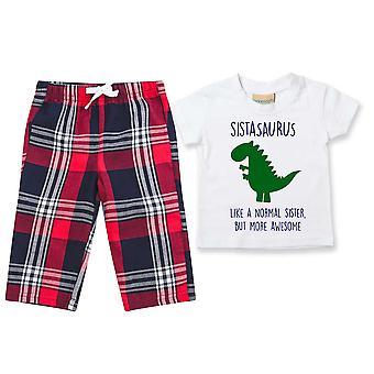 Sister Dinosaur Tartan Trouser Pyjamas