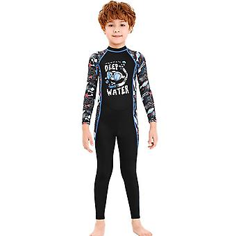 Kids wetsuit long sleeve one piece uv protection thermal swimsuit dfse-9