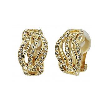 Pendientes de clip de viajero cristales swarovski chapados en oro - 157393 - 863