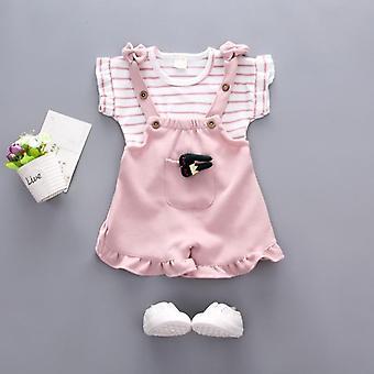 Baby Sommer Kleidung, gestreifte Top Strap Shorts Set