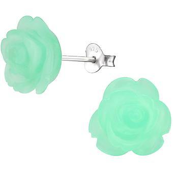 HanFei Damen-Ohrstecker Damenschmuck Rose Blume Grn Kunstoff Sterling Silber 925