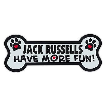 """Magnet, Dog Bone, Jack Russells Ha det morsommere!, 7.25"""" X 2.75"""""""