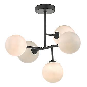 DAR EUAN Halvskyl loft lys lys sort og opal glas, 5x G9