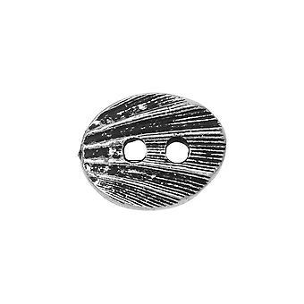 Pulsante peltro, conchiglia ovale 13,5x17 mm, placcato argento anticato, 1 pezzo, di TierraCast