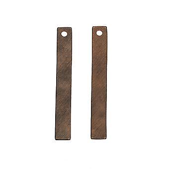 Vintaj Natural Brass, Rektangel hänge Tom 31.5x4mm, 2 Stycken