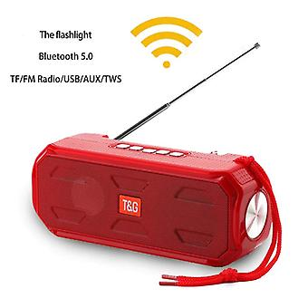 Red portable silicone bluetooth speaker subwoofer stereo support TWS TF AUX /USB/AUX/ FM