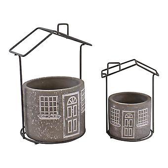 Sæt med 2 Cement House Planters, Runde