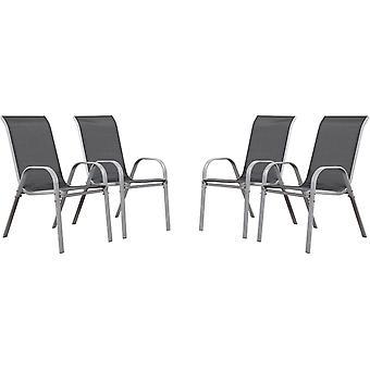 "Juego de 4 sillas jardín Textileno ""Cordoba"" - Phoenix - Gris oscuro / plateado"