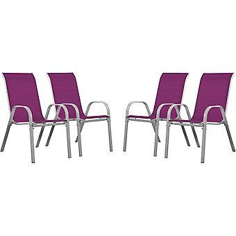 """Juego de 4 sillas jardín Textileno """"Cordoba"""" - Phoenix - Rosado"""