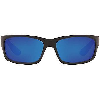 Costa Del Mar Mens Jose Polarized Rectangular Sunglasses - Blackout/Grey Blue Mirrored - 62 mm