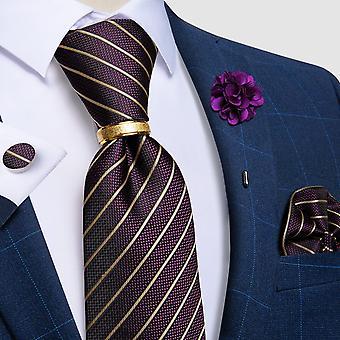 Silk Jacquard Woven Men Necktie Ring Brooch Cufflinks