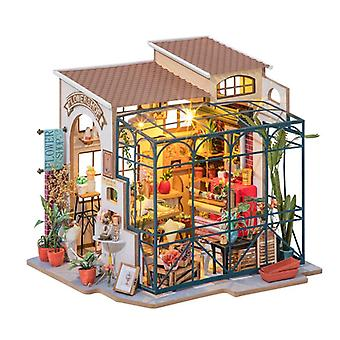 Diydollhouse miniatyyri huonekaluilla, koottu taidetalon lahja