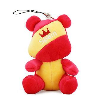 جديد 2016 تذكارية اسبانيا العلم الدب محشوة سلسلة المفاتيح أفخم دمية ES7614
